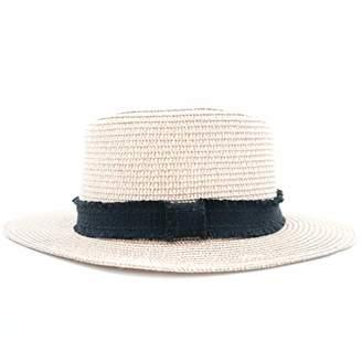 accsa Women Straw Sun Panama Fedora Hat Summer Beach Cap with Black Ribbon Band