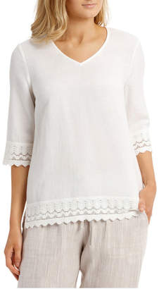 Regatta 3/4 Sleeve Lace Detail Top
