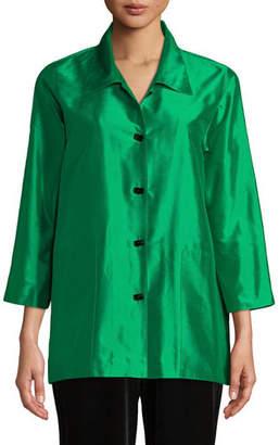 Caroline Rose Silk Shantung Occasion Shirt, Plus Size