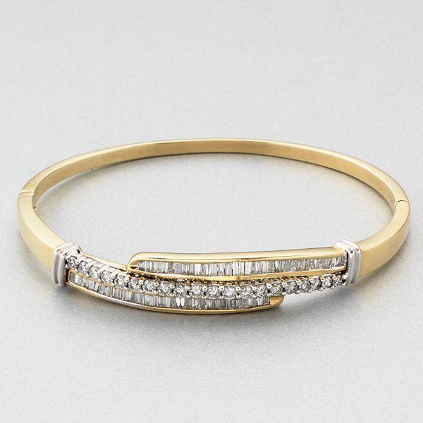 14k Gold 2-Ct. T.w. Diamond Bypass Bangle Bracelet