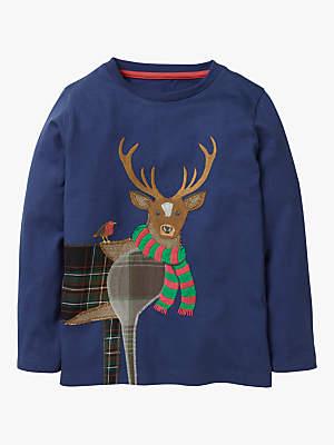 Boden Mini Boys' Reindeer Appliqué Top, Starboard Blue