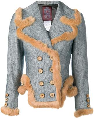 John Galliano Pre-Owned fur trim double breasted jacket