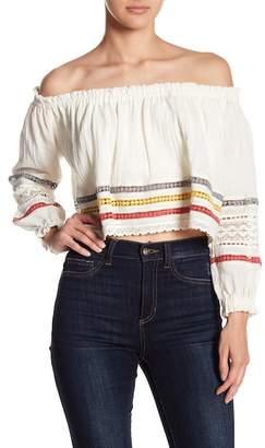 Poof Off-the-Shoulder Crochet Lace Blouse