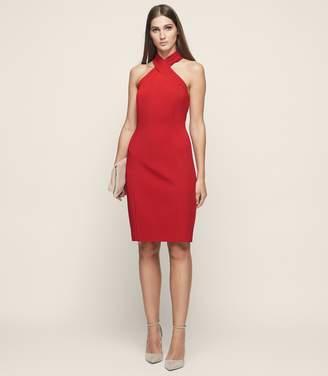 Reiss Zaira - Wrap Neck Cocktail Dress in Crimson