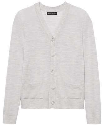 Banana Republic Machine-Washable Merino Wool Cropped Cardigan Sweater
