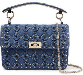 Valentino Garavani The Rockstud Spike Medium Embellished Quilted Denim Shoulder Bag - Mid denim