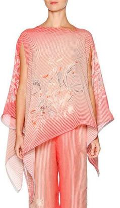Giorgio Armani Birds Paradise Striped Poncho, Multi Colors $3,400 thestylecure.com