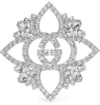 Gucci Silver-plated Crystal Brooch
