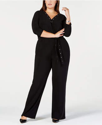 NY Collection Plus Size Grommet-Trim Jumpsuit, Plus Size & Petite Plus Size