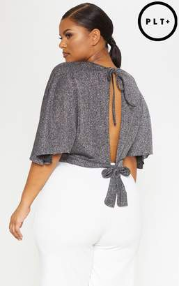 PrettyLittleThing Plus Silver Glitter Tie Back Batwing Crop Top