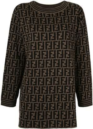 Fendi Pre-Owned Zucca Pattern Long Sleeve Knit One Piece Dress