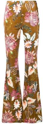 Black Coral flared floral trousers