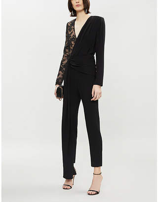 Givenchy Lace-panel silk and wool jumpsuit