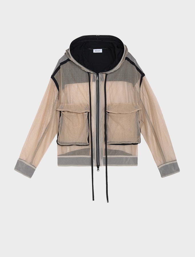 DKNYRunway Hooded Zip Through Mesh Jacket
