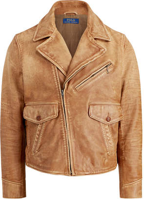 Polo Ralph Lauren Men's Leather Newsboy Jacket