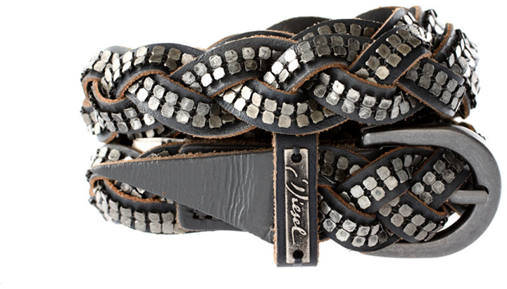 Diesel Plaited Stud Detail Belt
