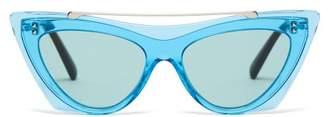 Valentino Rockstud Acetate Cat Eye Sunglasses - Womens - Blue