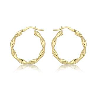 06a476a35 Carissima Gold Women's 9 ct Yellow Gold 22.5 mm Twist Hoop Creole Earrings