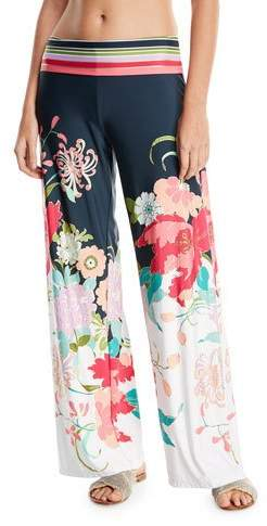 Trina Turk Royal Botanical Roll-Top Floral-Print Wide-Leg Beach Pants