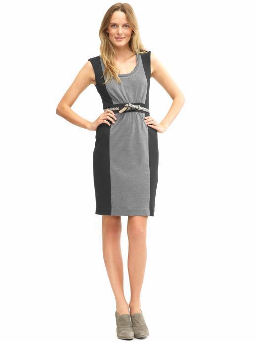 Petite stretch colorblock dress