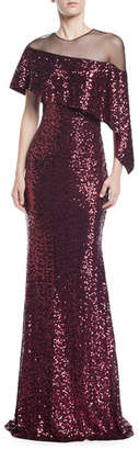 Badgley Mischka Asymmetric Cape & Popover Sequin Gown
