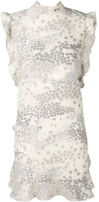 RED Valentino star print ruffle trim dress