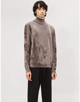 Balenciaga Logo-embroidered turtleneck velvet jumper