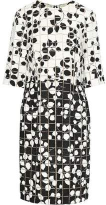 Carolina Herrera Cutout Printed Cotton-Blend Tweed Dress