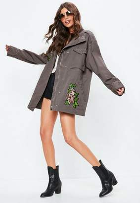 Missguided Gray Embroidered Studded Field Jacket