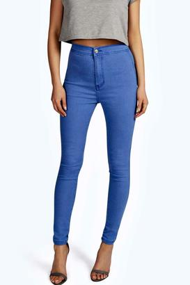 boohoo Lara True Blue High Rise Tube Jeans