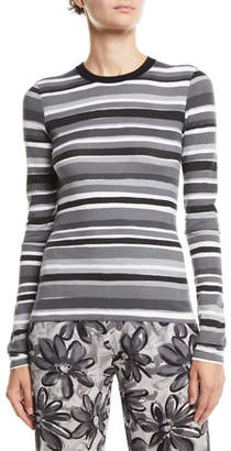 Michael Kors Crewneck Long-Sleeve Striped Stretch-Viscose Tee