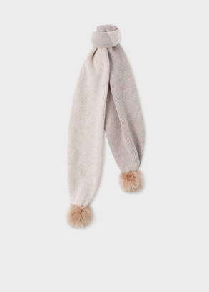 Paul Smith Women's Cream And Oatmeal Wool Knit Scarf