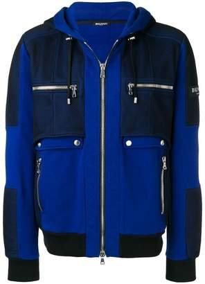 Balmain hooded jacket with net panels