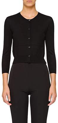 Prada Women's Virgin Wool Crop Cardigan - Black
