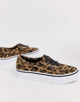 Vans Authentic leopard platform trainers 5c1b1440d