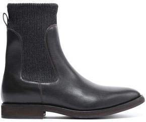 Brunello Cucinelli Rib-Trimmed Leather Ankle Boots