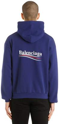 Balenciaga Political Logo Hooded Cotton Sweatshirt