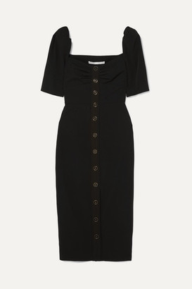 Veronica Beard Trace Button-detailed Cady Dress - Black