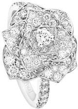 Piaget Pave Diamond Rose Ring in 18K White Gold, Size 6