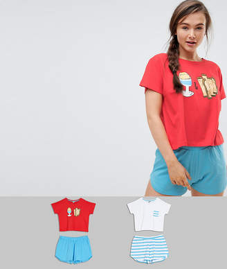 Asos DESIGN 2 Pack Egg and Soldiers Tee & Short Pajama Set
