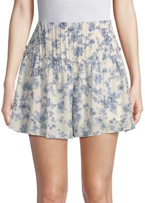 Moon River Women's High-Waist Floral Shorts