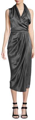 Rick Owens Sleeveless Shiny Silk Wrap Midi Dress