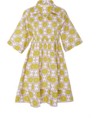 VERANDAH Printed Cotton Mini Shirt Dress