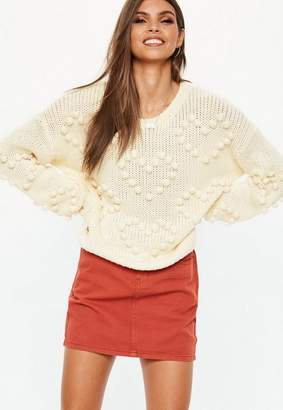 Missguided Cream Heart Bobble Pom Pom Cropped Sweater