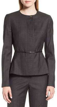 BOSS Juenisa Belted Wool Blend Jacket