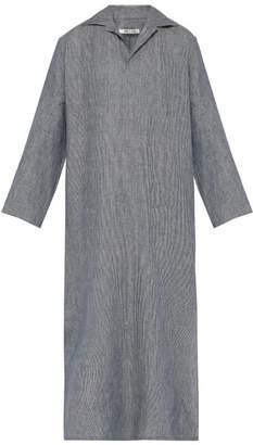 Hecho - Striped Linen Kaftan - Mens - Navy