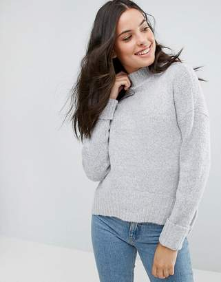 Brave Soul Tainsor Oversized Funnel Neck Sweater With Curved Hem