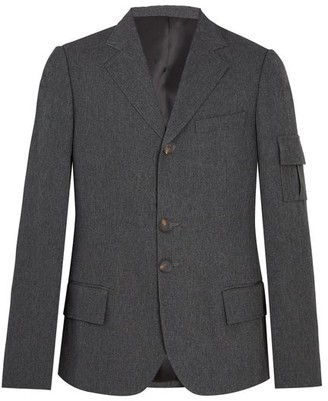 Wales Bonner - Single Breasted Patch Pocket Woven Blazer - Mens - Grey