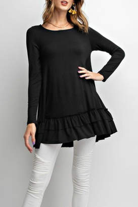 Easel Long-Sleeve Ruffle Tunic