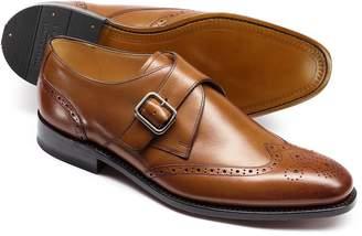 Charles Tyrwhitt Tan Compton Monk Brogue Wing Tip Shoe Size 9.5